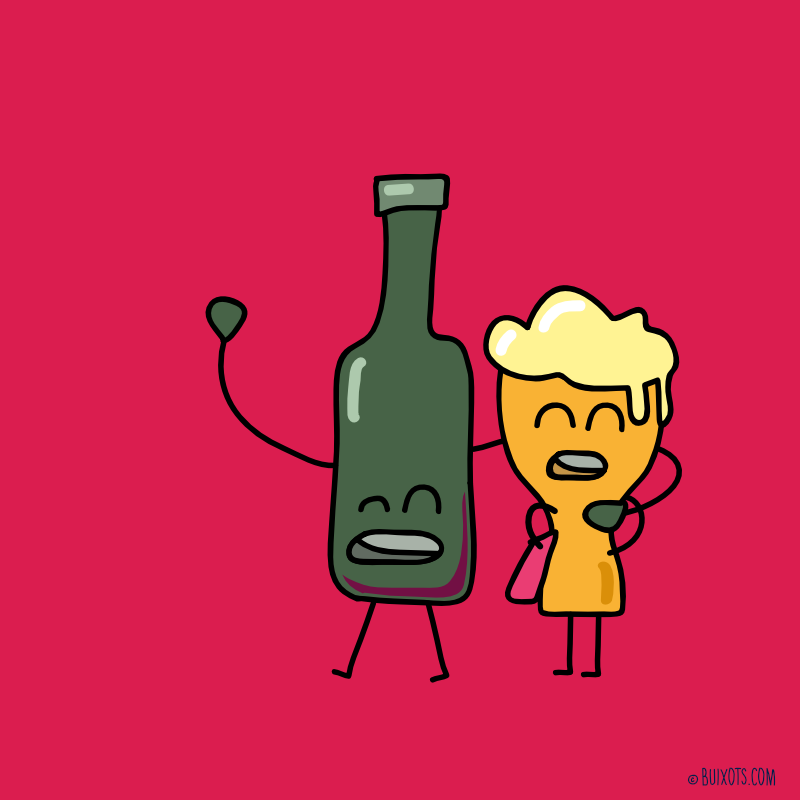 Wine & Beer love couple vector drawing